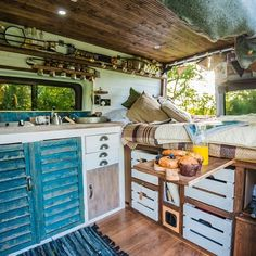 Campervan hire across the UK. Rent a beautiful handcrafted camper or motorhome direct from private owners. Van Interior, Camper Interior, Interior Ideas, Modern Interior, Kombi Trailer, Luxury Campers, Van Dwelling, Blue Shutters, Window Shutters