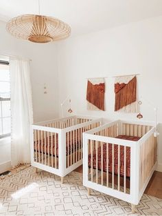 Twin Baby Rooms, Twin Girl Bedrooms, Twin Baby Girls, Baby Bedroom, Twin Room, Twin Nurseries, Neutral Nurseries, Twin Nursery Gender Neutral, Baby Room Neutral