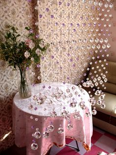 crystal beaded curtain Crystal Curtains, Beaded Curtains, Door Curtains, Door Dividers, Diy Home Decor, Room Decor, Interior Decorating, Interior Design, Window Coverings