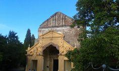 View of the church facade, entrance to the monastery