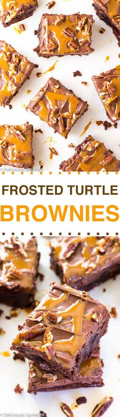 Frosted Turtle Brownies- easy holiday party dessert recipe!