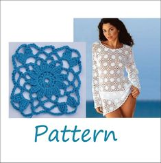 Beach cover up Crochet tunic pattern xxl by EasyNadiaPatterns T-shirt Au Crochet, Crochet Tunic Pattern, Crochet Cover Up, Crochet Shirt, Crochet Woman, Easy Crochet Patterns, Top Pattern, Easy Patterns, Doily Patterns
