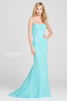 Colette for Mon Cheri CL12033. Sleeveless cracked ice sheath dress with a cowl neck, na
