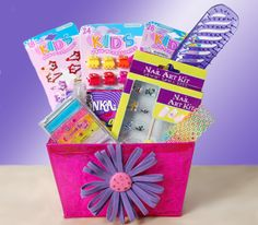 Pampered & Pretty Tween  $36.00  This age appropriate gift will keep her primping and pampering herself. It comes with an assortment of hair barrettes, hair clips and ties, and a brush. Some nail art decals for her hands and lip gloss for her smile while enjoying the candy that comes with the arrival. Topped with colorful ribbons and shrink wrapped, this is a gift that will help her discover her own beauty.   A gift for the 8-13 year old girl