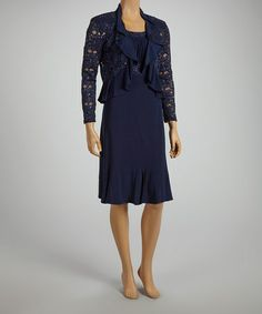 Love this Navy Lace Sequin Sleeveless Dress & Jacket - Women & Plus by R&M Richards on #zulily! #zulilyfinds