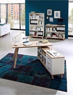 coin bureau bureau d'angle scandinave bois clair blanc avec casses casier et rangement