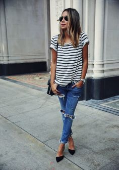 Pair boyfriend jeans with a button-down or comfy tee.