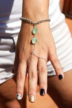 SALE!!! 15% off use code etsy15  Mint green chalcedony slave bracelet by PanachebyAmanda on Etsy, $27.20