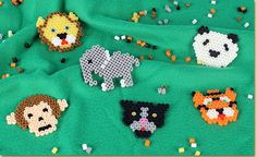 Lay Melty Beads onto the pegboards listed with the colors shown to create Zoo animal designs