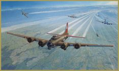 'Danger, Cold, Fear and Courage' by Steven Heyen - In 1944, B-17 'Little Patches' of the 401st Bomber Squadron, 91st Bomber Group turns off the target and heads back toward England. At thirty thousand feet, the temperature is at around 40 degrees C below zero, and the heat from the aircraft exhaust leaves condensation trails for many miles. German Focke-Wulf 190 fighters have swept down to attack.