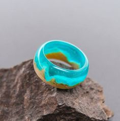 Dunes of the Sahara wooden resin ring. Eco epoxy jewelry. Green Wood the secret of the magical world in a tiny landscape. Glow in the Dark