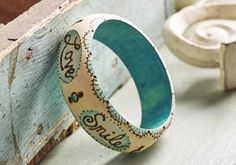 Create your own wood burned bangle bracelet with inspirational words, it's easy and fun! #plaidcrafts #diy