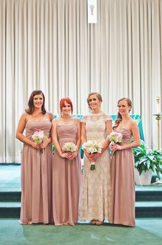 Fall wedding bridesmaid dress - light pink strapless chiffon bridesmaid dresses + pastel bouquets {Katie Gutman Design & Photography}
