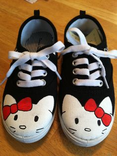 Hello Kitty Inspired Kids Shoes by HandPainted29 on Etsy, $35.00