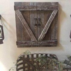 Rustic shutter barn doors | Etsy Shutter Wall Decor, Barn Door Decor, Diy Barn Door, Rustic Shutters, Barn Windows, Garden Mirrors, Old Barn Doors, Barn Door Handles, Old Windows