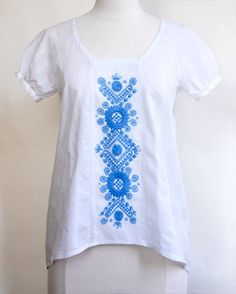 DIY peasant blouse sewing kit with handmade Eastern European embroidery from Buzsak, Hungary