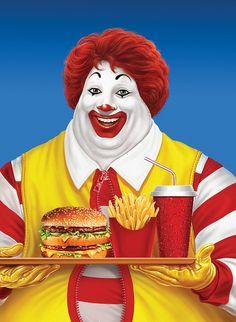 If Ronald McDonald ate at McDonald's. Caricatures, Ronald Mcdonald, Funny Jokes, Hilarious, I Love To Laugh, The Victim, Gi Joe, I Smile, Memes