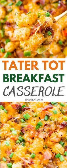 Mexican Tater Tot Casserole, Easy Breakfast Casserole Recipes, Tater Tot Breakfast Casserole, Breakfast Meat, Brunch Recipes, Cooking Light Recipes, Easy Cooking, Cooking Ideas, Creamy Eggs