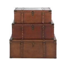 I pinned this 3 Piece Euston Trunk Set from the Ivy League Chic event at Joss and Main! I just love they way these look!!! and doubled as storage they give a vintage twist to any room!!