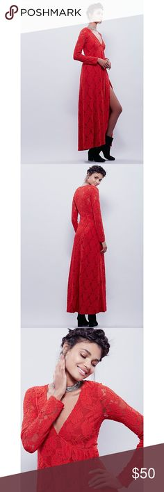 Free People X Sunday lace dress Never worn - still has part of hangtag, Free People X Sunday lace wrap dress. Bold red, lined, fastens with a button on the side. Fits TTS. Snag it before tonight's posh party! Free People Dresses Maxi