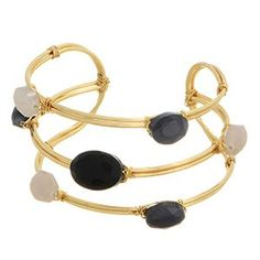 Multi Color Stone Cuff Bracelet