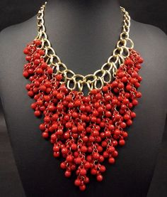 bib necklace wholesale fashion jewelry from china Diy Jewelry Rings, Coral Jewelry, Bead Jewellery, Wire Jewelry, Bridal Jewelry, Beaded Jewelry, Jewelery, Beaded Necklace, Jewelry Making