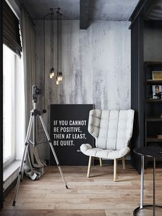 Modern Apartment Decor: Dark and moody modern industrial apartment in Russ. Industrial Interior Design, Industrial Apartment, Industrial Interiors, Industrial House, Vintage Industrial, Modern Interiors, Kitchen Industrial, Industrial Office, Industrial Restaurant