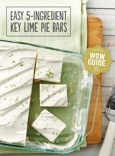Key Lime Pie Bars couldn't be easier with only five ingredients! This recipe uses sugar cookies as the base. Keep them chill for all your guests to enjoy!