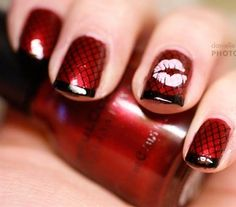 Red/Black & Lips Nail Art ❤