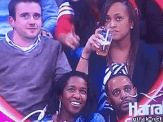 Couple on Kiss Cam, Woman spills beer on head person in front of her ~ Funny gifs