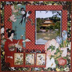 Kinkaku-Ji (Kyoto, Japan) - single travel scrapbooking layout using Graphic45 Birdsong papers @graphic45