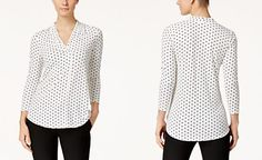 Charter Club Petite Heart-Print V-Neck Top, Only at Macy's