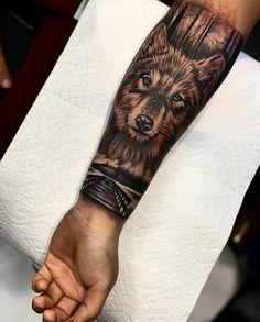 Sky Tattoos, Wolf Tattoos Men, Forest Tattoos, Animal Tattoos, Tattoos For Guys, Wolf Tattoo Sleeve, Leg Tattoo Men, Chest Tattoo, Wolf Tattoo Design