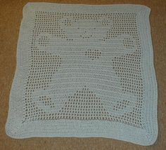 Karens Crocheted Garden of Colors: Teddy Bear Filet Baby Blanket