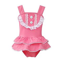 Baby Girls Lace Ruffled OnePiece Bikini Swimsuit Bathing Suit with Hat >>> Visit the image link more details.