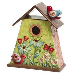decorative bird houses for outside | ... Field of Flowers Decorative Table Top Bird House, 11-Inches Tall