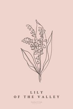 Botanical Tattoo, Botanical Drawings, Botanical Illustration, Botanical Prints, Simple Flower Tattoo, Flower Tattoos, Small Tattoos, Bouquet Tattoo, Lily Of The Valley Flowers
