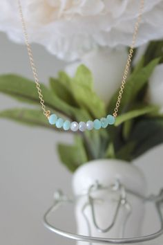 Blue Ocean Ombre Beaded Necklace  Gold Filled Chain by LucyMint