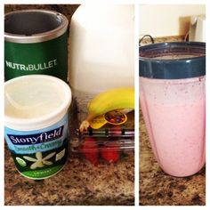 The best strawberry and  banana smoothie!!!!  1 1/2 cup of strawberries  1 banana  1 cup of vanilla yogurt 1/2 cup of milk 5-7 cubes of ice  Good for you & yummy!
