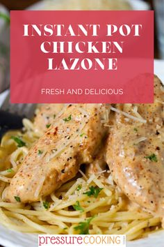 Pressure Cooker/Instant Pot Chicken Lazone is a delectably rich recipe made with fresh chicken breasts, seasoned, cooked, and served with a rich cream sauce. Pressure cooker chicken recipes don't get much easier than this delicious dinner! #PressureCookingToday #InstantPot #instantpotchicken #easychickenrecipe