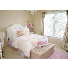 My daughter's bedroom. #prettyinpink I chose to keep her walls a neutral beige and go with pink in all the decor and bedding. In a few years when she decides her favorite color is something different then pink, well all I have to do is change the bedding and decor. Photographed by @karynmayphotography