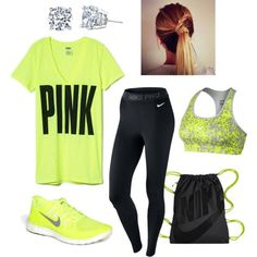 Like everything except for the earrings because who wears earrings when they are exercising?!? #workoutoutfits