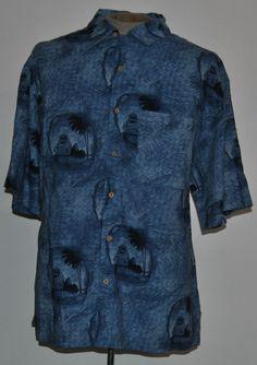 Dickie Walker Men's Sz L Blue Geometric Linen Blend  Short Sleeve Hawaiian Shirt #DickieWalker #Hawaiian