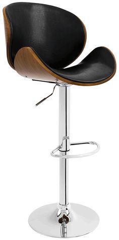 Estruturada em aço cromado com apoio para pés e regulagem de altura, a banqueta Smile possui o assento em madeira estofado em couro ecológico.