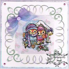 Geborduurde kerstkaart, patroon is van de oplegkaartjes van stitch & do