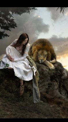 This makes me think of Susan or Lucy with Aslan at the Stone Table in The Lion, the Witch & The Wardrobe!