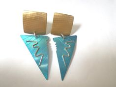 Geometric Earrings Vintage 80s Anodized Aluminum Avant Garde