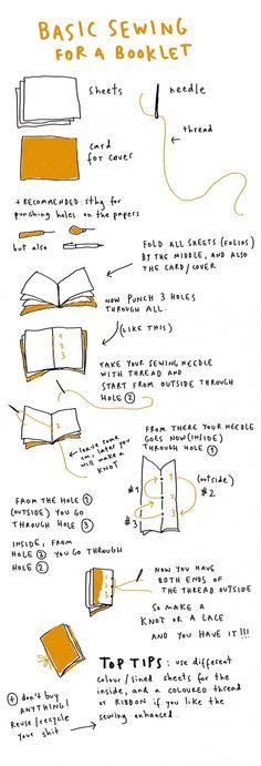 DIY: Basic sewiing for a booklet - Manualidades: cómo coser una libreta