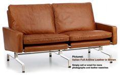 Retro leather two seater sofa
