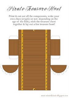 """Pirate treasure chest printable-To fill with lollies sign saying """"Grab ya treasure me mateys""""!"""